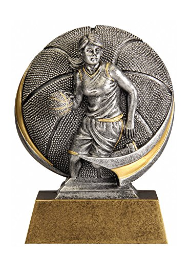 Female Basketball Motion Extreme 3D Trophy - Detailed Gold and Silver Finish - Customize Now - Personalized Engraved Plate Included and Attached to Award - Decade Awards