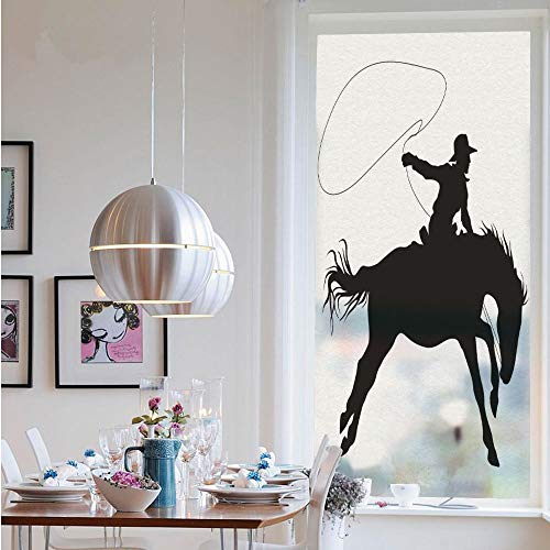 3D Window Films Privacy Film Static Decorative Film,Silhouette of Cowboy Riding Horse Rider Rope Sport Country Western Style Art(23