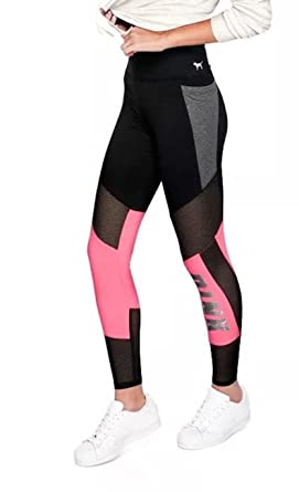 82c4e7d26609e Victoria's Secret Pink Flat Mesh Bling Pocket Leggings Sequins,  Black-Pink-Bling, Small