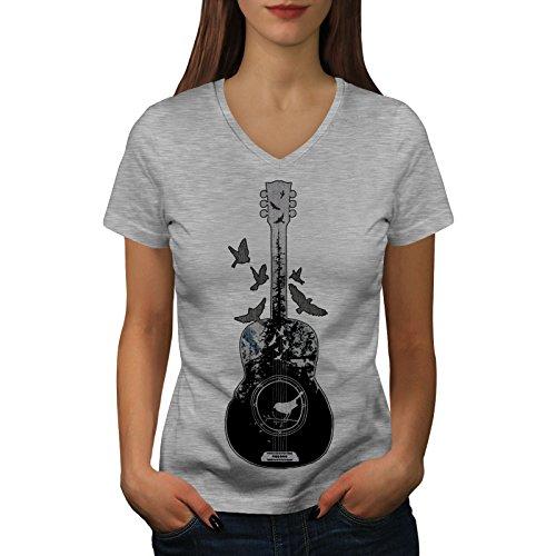 T-shirt V-neck Womens Guitar - wellcoda Guitar Forest Bird Womens V-Neck T-Shirt, Music Casual Design Tee Grey L