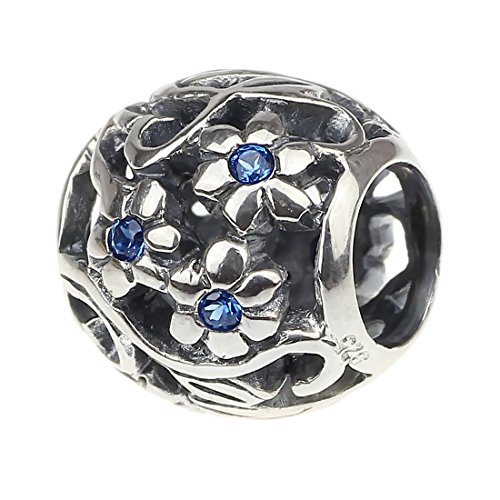 Beads Hunter Jewelry Blooming Daisy Flowers Lattice Work .925 Sterling Silver Charm