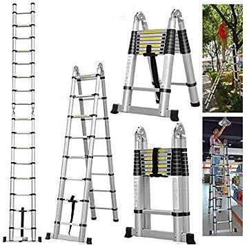 Escalera telescópica multiusos de aluminio, extensible, 5 m, con marco de escalera: Amazon.es: Bricolaje y herramientas