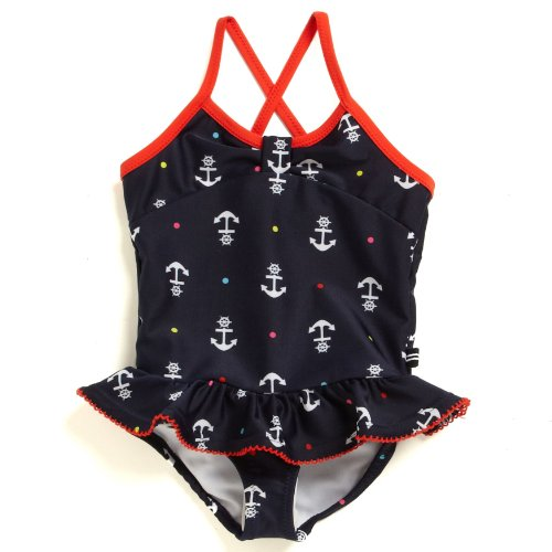 Nautica Baby-Girls Infant Anchor Print One Piece, Naval Blue, 12 Months