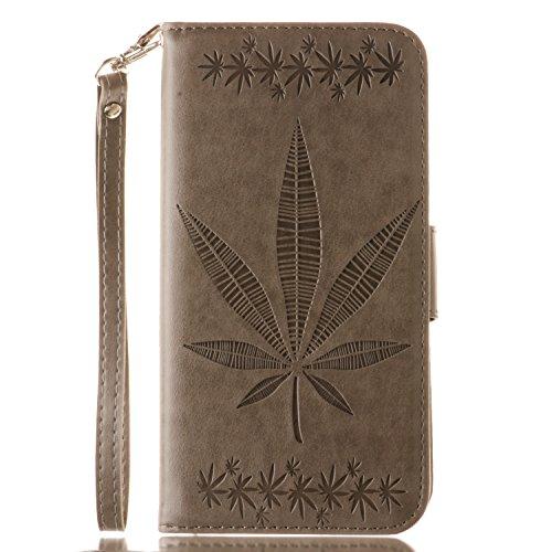 IPhone 5s SE Case Cover, Double Face Gaufrage Fleurs Haute Qualité Flip Stand PU Leather Case Avec Lanyard Wallet & Card Cash Slots Pour IPhone 5S SE ( Color : Gray )