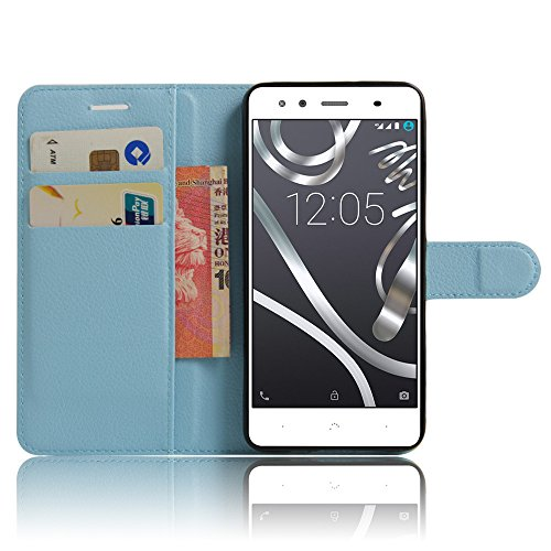 Alcatel PIXI 4 (6) LTE Funda carcasa caso case, KuGi ® Alcatel PIXI 4 (6) LTE Funda caso- PU de cuero de alta calidad caja de la carpeta pata de cabra para Alcatel PIXI 4 (6) LTE teléfono inteligen Azul