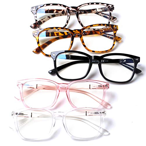 5 Pack Blue Light Blocking Reading Glasses Fashion Square Computer Glasses Women Men Comfort Reading Gaming TV Glasses