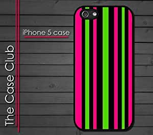 iPhone 5 Rubber Silicone Case - Neon Stripes Colorful Trendy