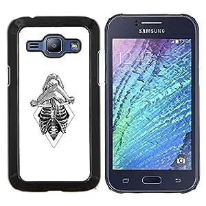 Mujer esquelética- Metal de aluminio y de plástico duro Caja del teléfono - Negro - Samsung Galaxy J1 / J100