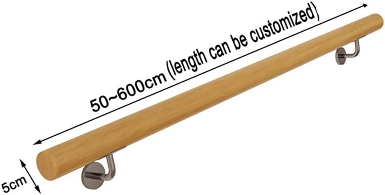 T5S6 Pasamanos Kit completo Size : 400cm 600cm contra la pared interior Loft ancianos Barandas Corredor Barra soporte antideslizante de madera de la escalera Pasamanos Longitud 50cm