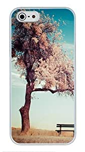 5S Cases, iPhone 5S Protective Case - Sad Lonely Tree High Quality PC Plastic Slim Lightweight Hard Case Cover for iPhone 5/5s White