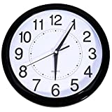 Bekith 13-Inch Retro Clock Non Ticking Quartz Wall Clock Big Arabic Numerals (Black)
