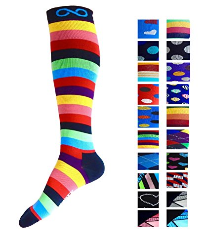 Compression Socks (1 pair) for Men & Women - BEST for Running, Nurses, Shin Splints, Flight Travel, & Maternity Pregnancy - Boost Athletic Stamina, Circulation & Recovery (i-Stripes, - Very Customer New 30 Off