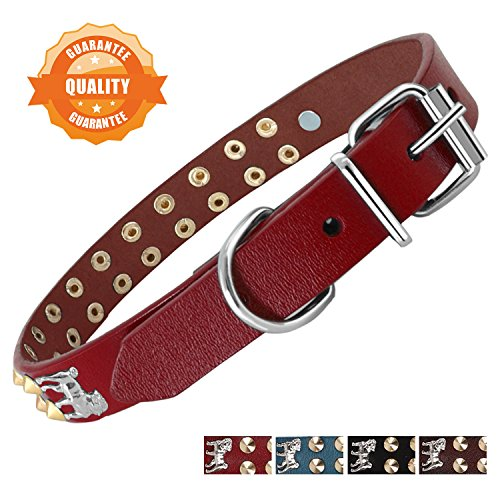 Bark Lover Handcrafted Deluxe Designer Genuine Leather Pet Collar Medium-Large Dogs (M, Red,Stud & Puppy)