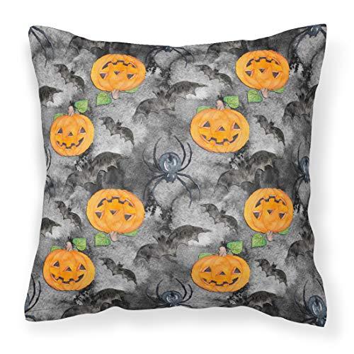 Caroline's Treasures BB7525PW1414 Watecolor Halloween Jack-O-Lantern Bats Outdoor Canvas Pillow, Multicolor ()