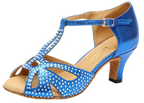 Blue Womens Ballroom Shoes Satin Latin Dance Tango 6182 JJ CFP BfXzEE