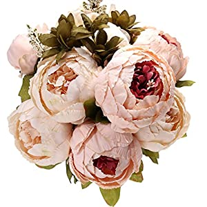 Uworld Artificial Flowers Real Looking Fake Peony for Party,DIY Wedding Bouquets Home Centerpieces 9