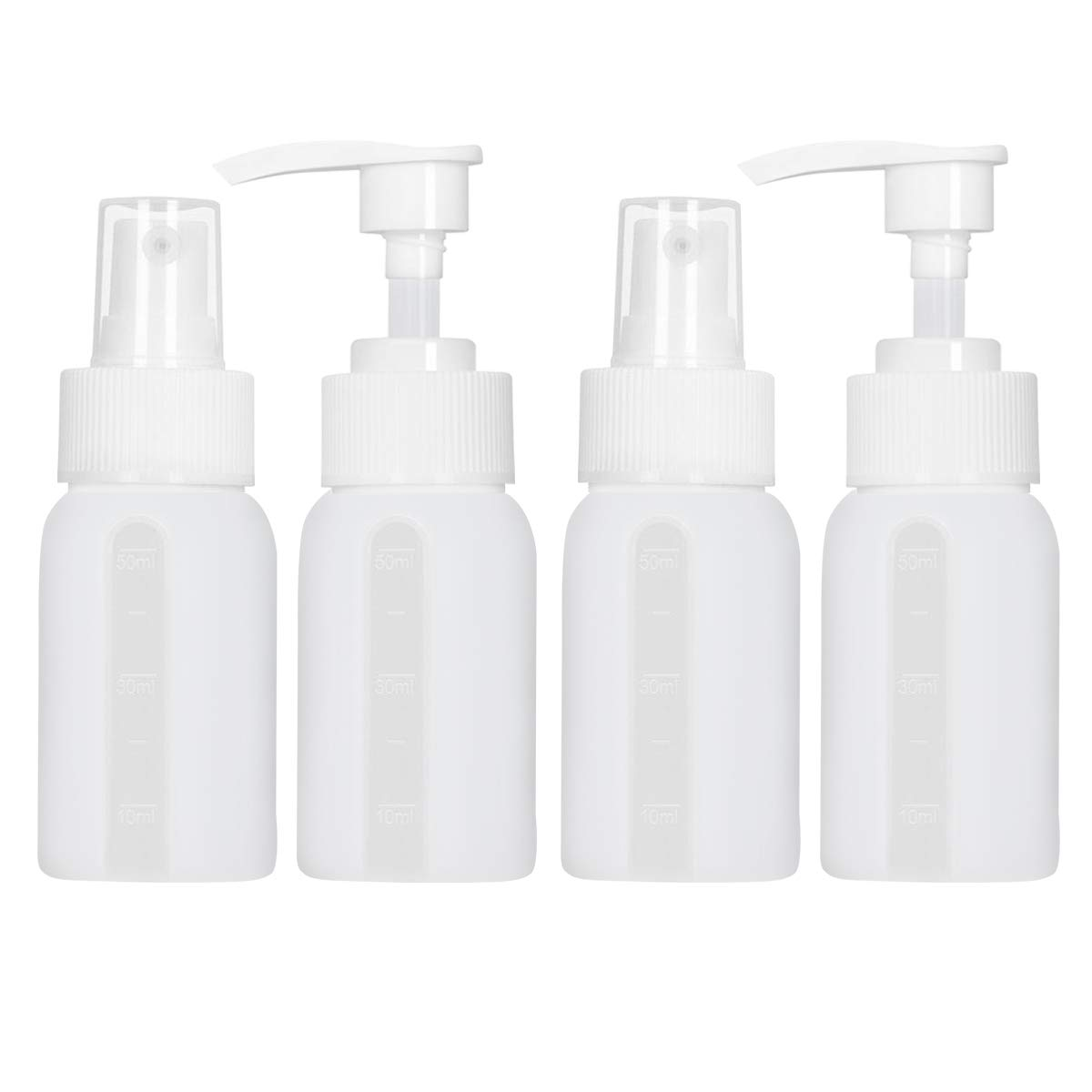 Portable Travel Bottles Food Grade Silicone Mist Spray Pump Bottle Refillable Cosmetic Toiletries Containers Leak Proof Squeezable 1.7 OZ 4 Pack(White)
