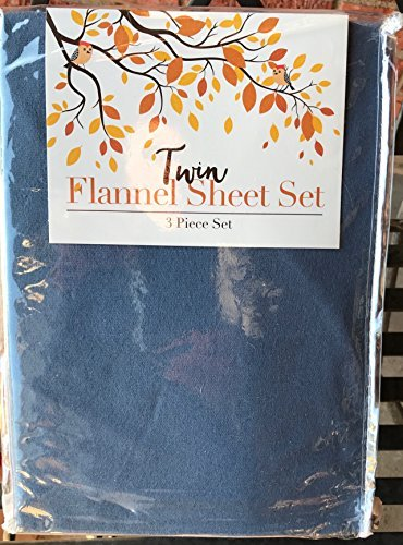 Wash Flannel Sheets - Blue 100% Cotton Flannel 3 piece twin sheet set Made in Turkey Machine wash warm