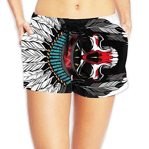 Women's Wide Waistband Swim Shorts Native American Skull Hipster Clipart Trunks Boyshort Bottoms With Pockets