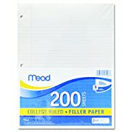 "Mead Filler Paper, Loose Leaf Paper, College Ruled Paper, 200 Sheets, 11"" x 8-1/2"", White (17208)"