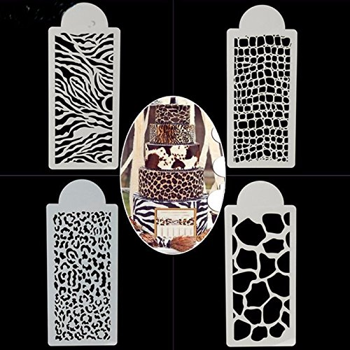 Chocolate Zebra Print - SEPTEMBER 4PCS Wedding Birthday Cake Decorating Bakery Tools, Zebras and Leopard Print Cake Templates, Fondant Template Mold