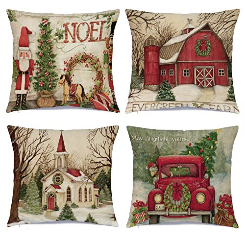 Hlonon Christmas Pillow Covers 18 x 18 Inches Set of 4 - Xmas Series Cushion Cover Case Pillow Custom Zippered Square Pillowcase (1 Christmas) (Christmas Cushions)