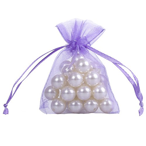 Ling's moment 3x4 Inch Sheer Organza Gift Candy Bags (50, Lavender) Baby Sachet