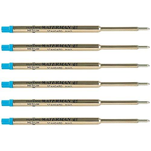 Waterman Blue Ballpoint Ink Refill Medium Point Maxima 6-Refills - Waterman Ballpoint Refill