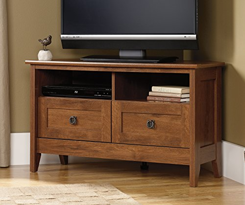 Sauder August Hill Corner Entertainment Stand, Oiled Oak Finish (Finished Wood Tv Stand)