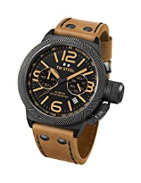 TW Steel CS43 Men's Canteen Black Dial Camel Leather Strap Chronograph Watch
