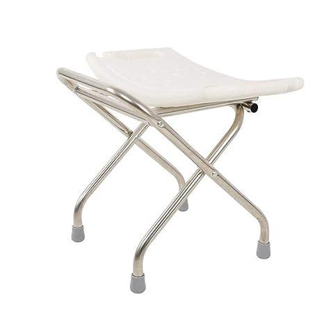 SXRL Plegable Ergonómico Silla de baño, Altura Regulable Taburete de Ducha Antideslizante para los Ancianos