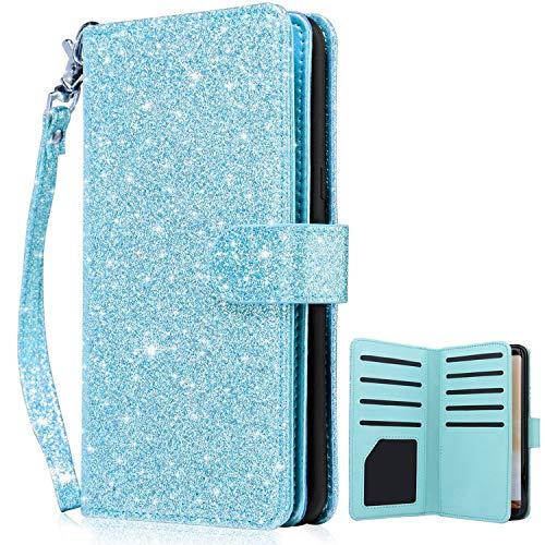 Dailylux Galaxy S8 Case,Galaxy S8 Wallet Case,Premium PU Leather Flip Credit Card Holder Wristlet Shockproof Protective Luxury Bling Flip Case Samsung Galaxy S8 5.8 inch-Glitter Blue