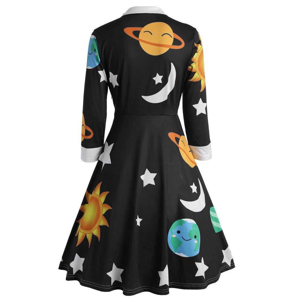 QAQBDBCKL Vestido De Mujer De Moda Oto/ño Vestidos Vintage Sol Y Luna Bot/ón con Estampado De Estrellas Manga Larga Llamarada Vintage
