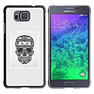 Be Good Phone Accessory // Dura Cáscara cubierta Protectora Caso Carcasa Funda de Protección para Samsung GALAXY ALPHA G850 // Black White Grey Skull Death Floral