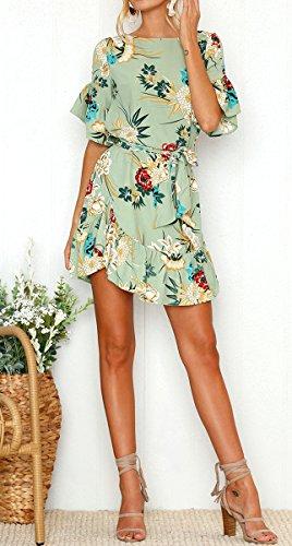 Ronds Blackmyth Femmes Robe Volants Ligne Imprimé Une Fleur Vert Dames Mode Mini XqSqwnUZ