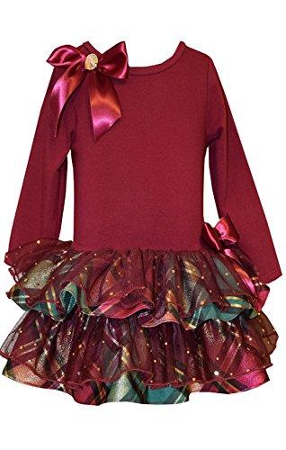 Taffeta Christmas Holiday Dress (Bonnie Jean Girls' Christmas Holiday Plaid Sparkling Ruffles Dress (5, Burgundy))