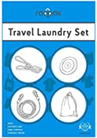 Raqpak Travel Laundry Set with Adjustable Bungee Clothesline, Clothes Pins, Sink Stopper and Storage Pouch Multiple Colors (1.3m Line, Green)