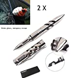 2 X L&J.NAT Highly EDC MILITARY Titanium Tactical Pen Tungsten Steel Cusp Multifunction Tool Self Defence Outdoor Tactical Fisher Space Pen Glass Breaker