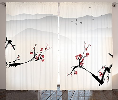 Ambesonne Asian Curtains, Japanese Nature Landscape National Sakura Flower Over Himalayas and Flying Gulls, Living Room Bedroom Window Drapes 2 Panel Set, 108 W X 84 L Inches, Beige Red]()