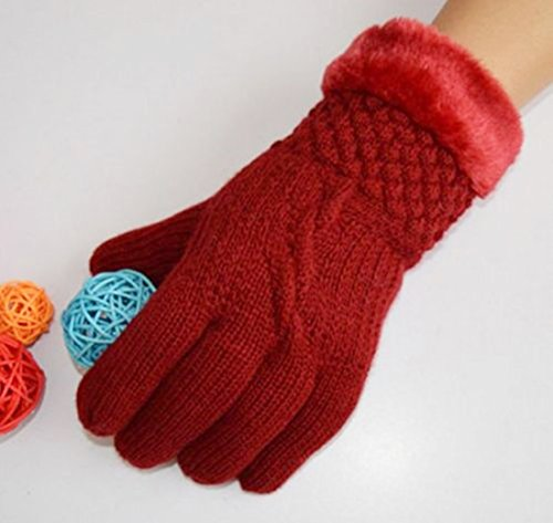 1-Pc (1-Pair) Superb Popular Hot Women's Mittens Warm Gloves Thermal Decor Girls Warmer Soft Feeling Colors Red Wine