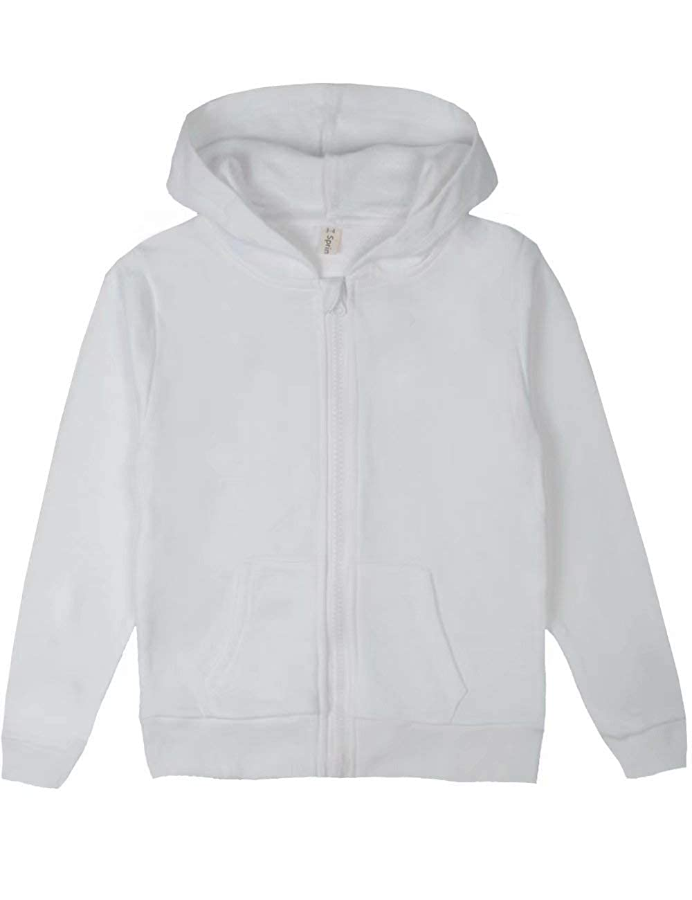 Spring& Gege Youth Classic Full-Zip Plain Hoodies for Children (3-12 Years)