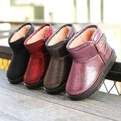 HUHU833 Kinder Mode Jungen Mädchen Stiefel Martin Stiefel Winter Warm Boots Kinder Schuhe Casual Snow Boots Violett