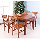 Merax 5pc Dinning Dinette 4 Person Table and Chairs Set Soild Pine Wood Dining Kitchen (brown)
