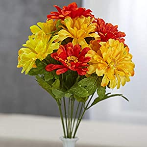 Factory Direct Craft Yellow and Orange Artificial Zinnia Bush 94