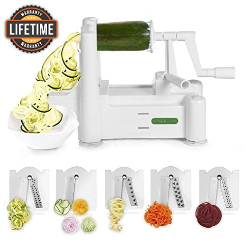 Spiralizer 5-Blade Vegetable Slicer, Strongest-and-Heaviest Duty, Best Veggie Pasta & Spaghetti Maker for Low Carb/Paleo/Gluten-Free Meals, With 3 Exclusive Recipe (Spiral Maker)