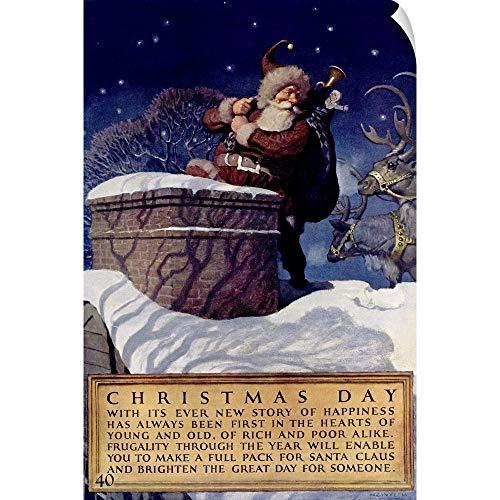 CANVAS ON DEMAND Christmas Day, National Savings Bank, Vintage Poster Wall Peel Art Print, 12
