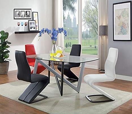 Acme Hassel - Mesa de Comedor (Cristal, 180 cm), Color Plateado y ...