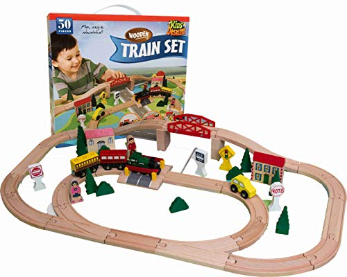 Kids Destiny Wooden Train Set for Thomas and Brio, 50 Pieces