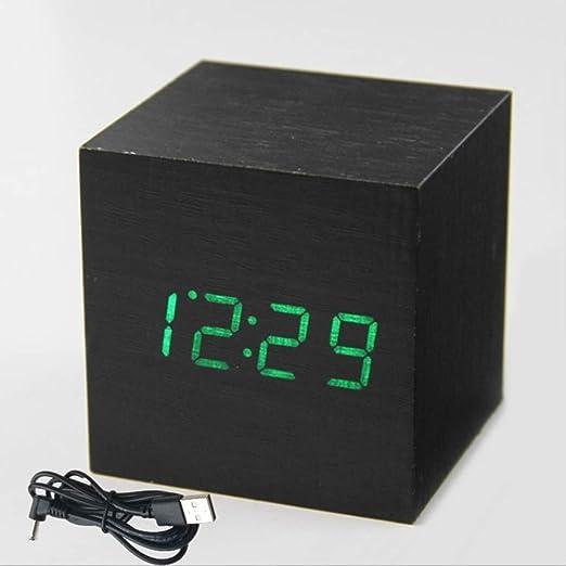 TVKL Reloj Despertador Cubo de Madera Reloj Digital Led Escritorio ...
