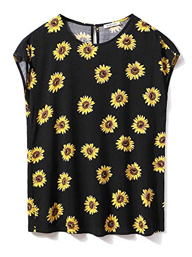 TORARY Womens Sunflower Tops Summer Short Sleeves Boatneck Floral Chiffon Blouse Black